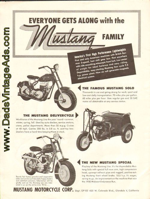 1951 Mustang Motorcycle Corp Everyone Gets Along With The Mustang Family Mustang Mini Motorbike Mini Bike