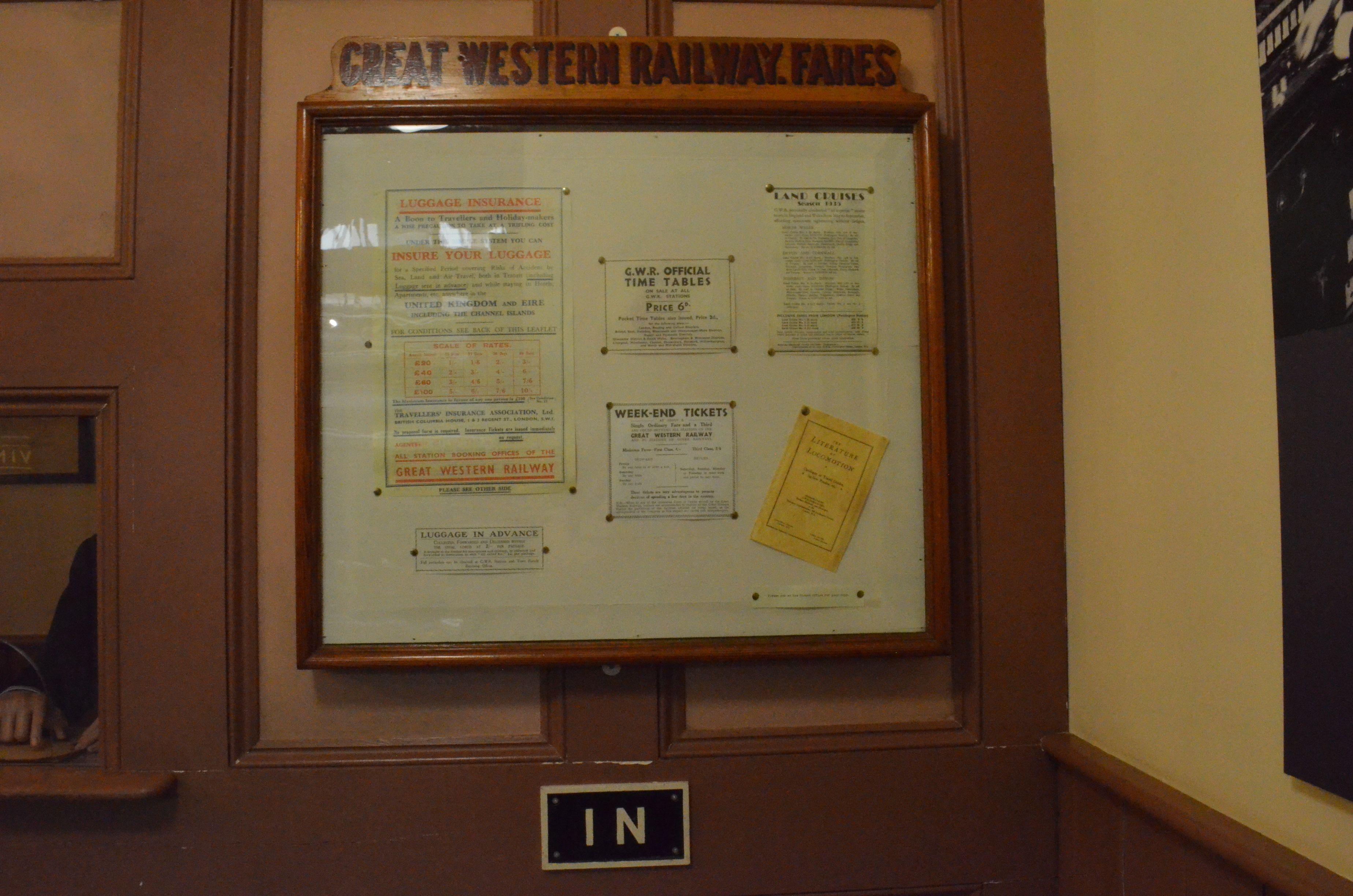Swindon Steam Museum - ticket office.  Ticket prices