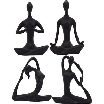 Black Yoga Statues