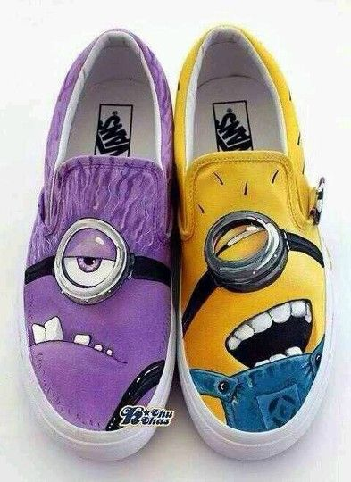 Purple and yellow Vans   Minion shoes
