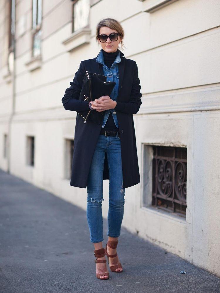 Jeansjacke Kombinieren Damen Mantel Outfits Lagenlook 3qAR54jL
