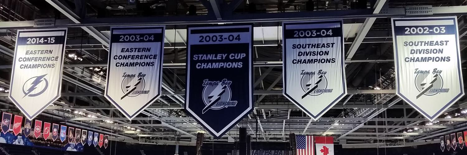 check out 42cd1 5e89e The 5 championship banners of the Tampa Bay Lightning inside ...