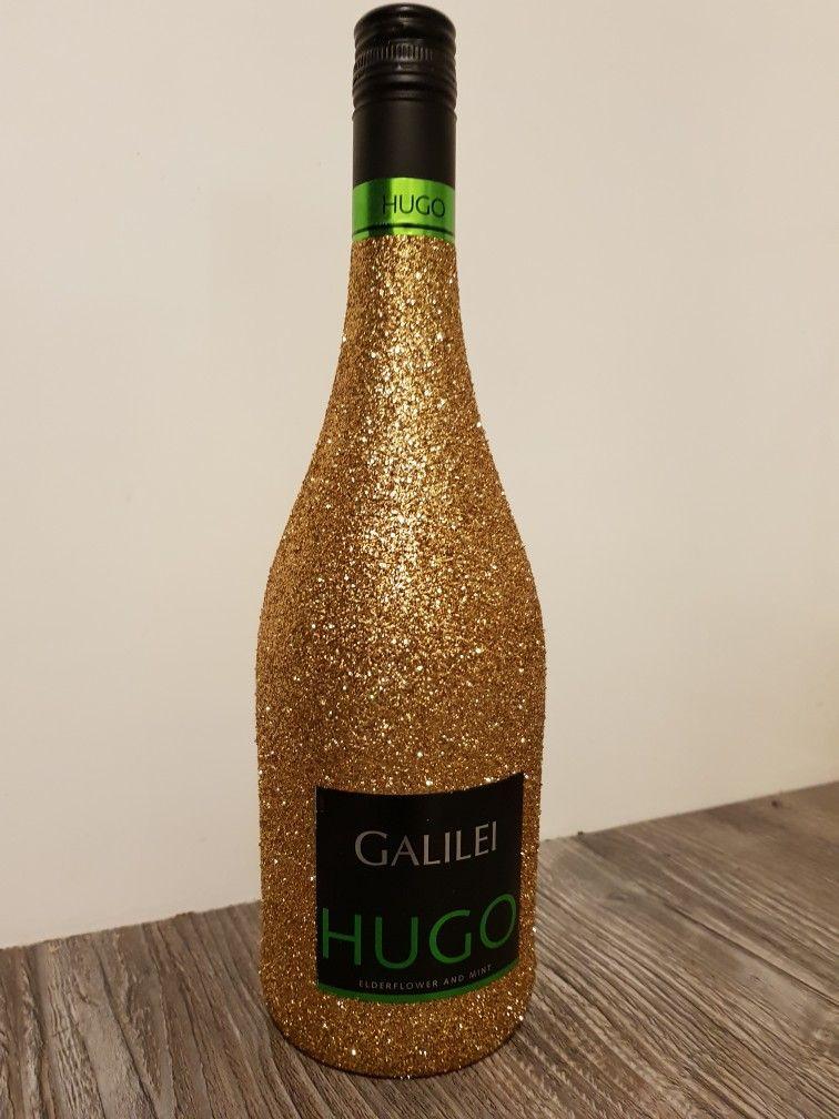 Hugo wine glitter bottle gold fles wijn