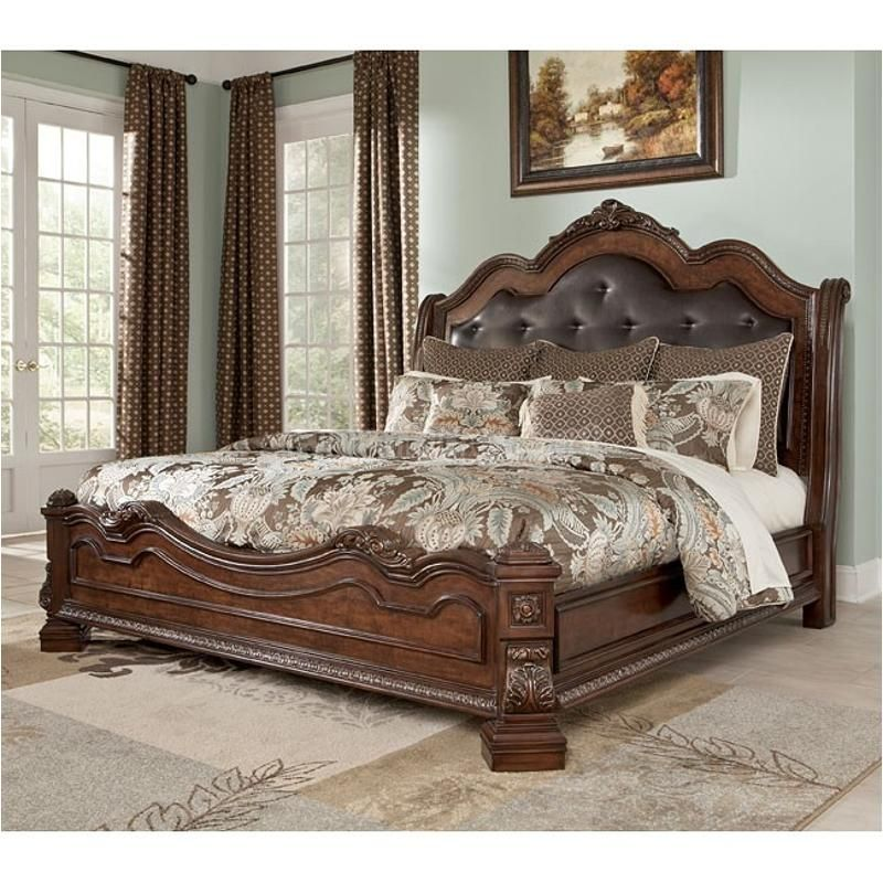 B705 58 Ashley Furniture Ledelle Brown King Sleigh Bed King