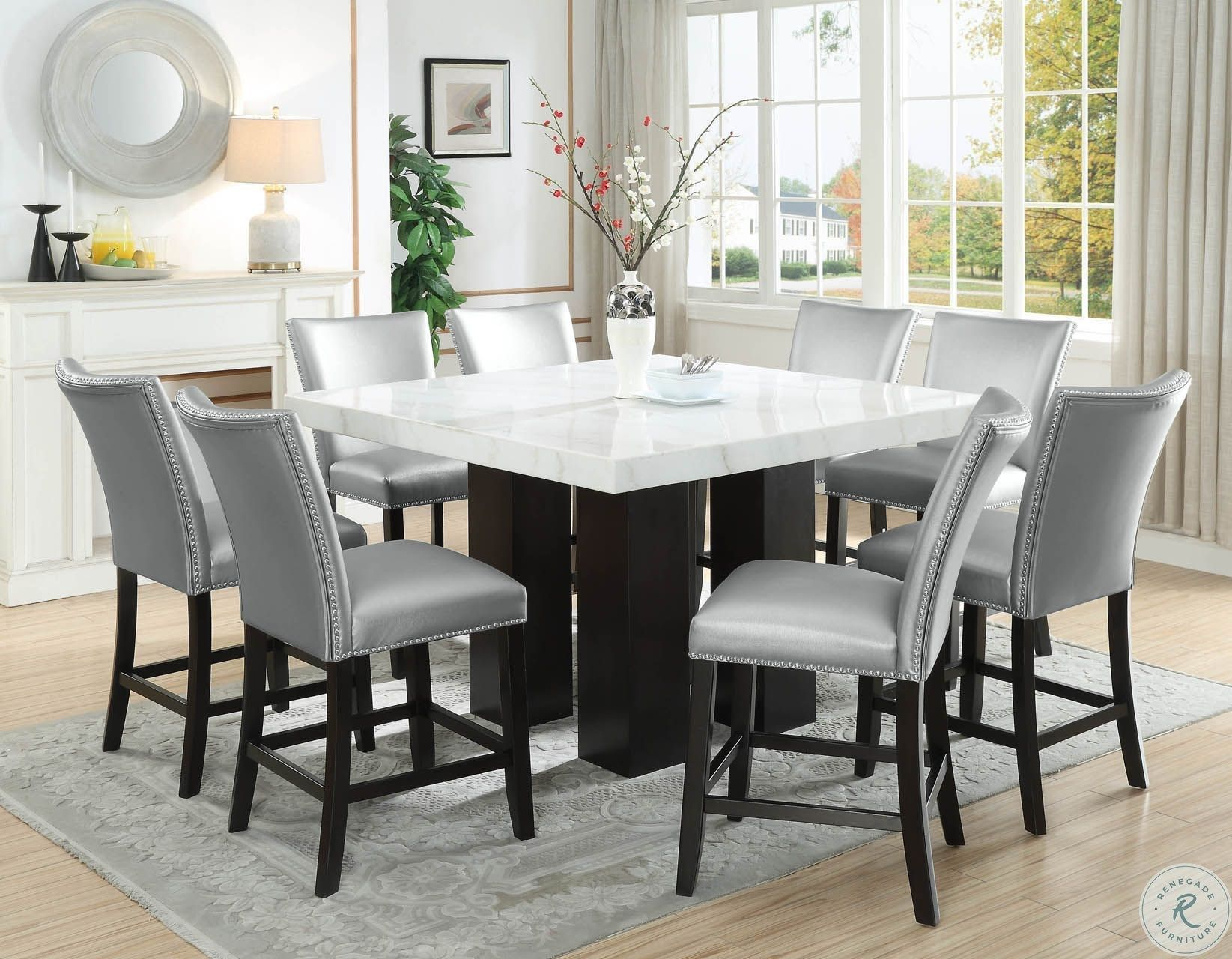 Camila Espresso Square Counter Height Dining Room Set Square Dining Room Table Counter Height Dining Room Tables Dinning Room Sets