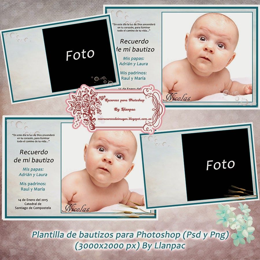 Recursos Photoshop Llanpac: Plantilla para invitaciones de Bautizo ...