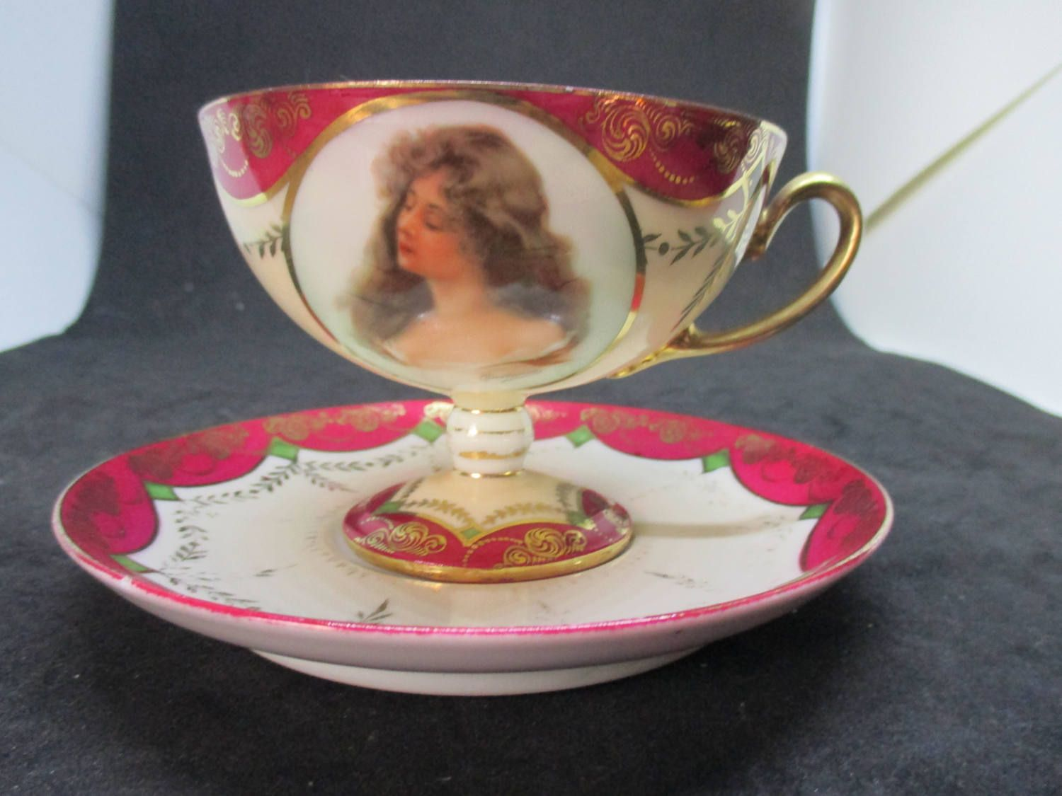 Antique Victorian Portrait Tea Cup And Saucer Austria Fine Bone China With Fantastic Detail Cottage Collectible Display Shabby Chic Decor Carol S True Vintage Tea Cups Fine Bone China Victorian Portraits