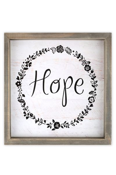Hope With Floral Wreath Wooden Wall Art 10 X 10 Inches Mardel Wooden Wall Art Inspirational Wall Decor Frames On Wall