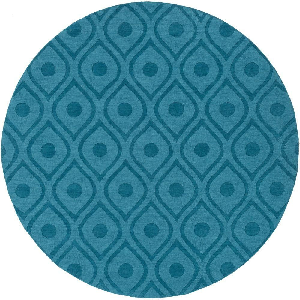 Central Park Zara Teal (Blue) 9 ft. 9 in. x 9 ft. 9 in. Round Indoor Area Rug