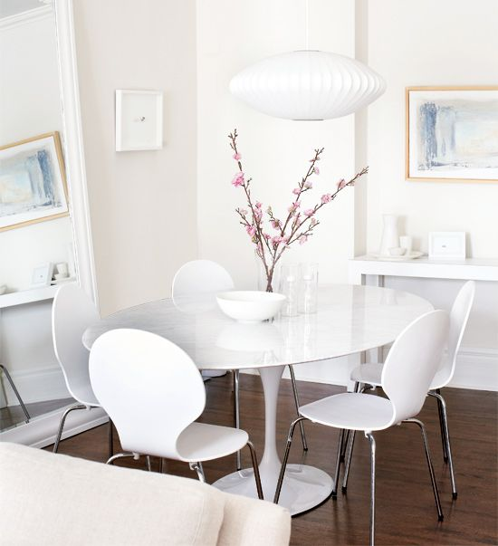 Ann Marie Favot  Lovely White Dining Room Design With Marble Enchanting Light Dining Room Sets Inspiration Design