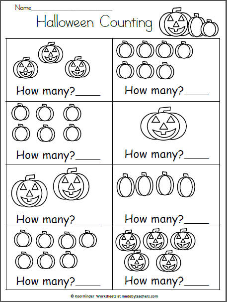 Halloween Math Worksheet How Many Made By Teachers Halloween Math Worksheets Halloween Math Preschool Math Worksheets