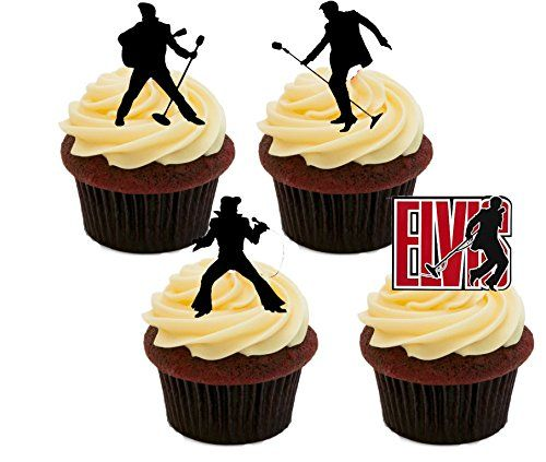 Elvis Presley Silhouettes Edible Cupcake Toppers Standup Wafer