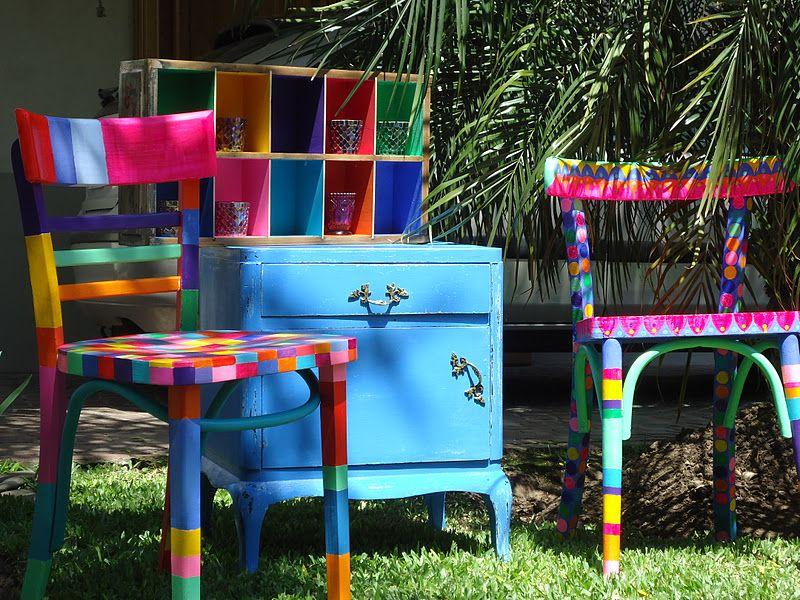 Sillas pintadas a mano estilo thonet vintouch - Muebles de madera pintados a mano ...