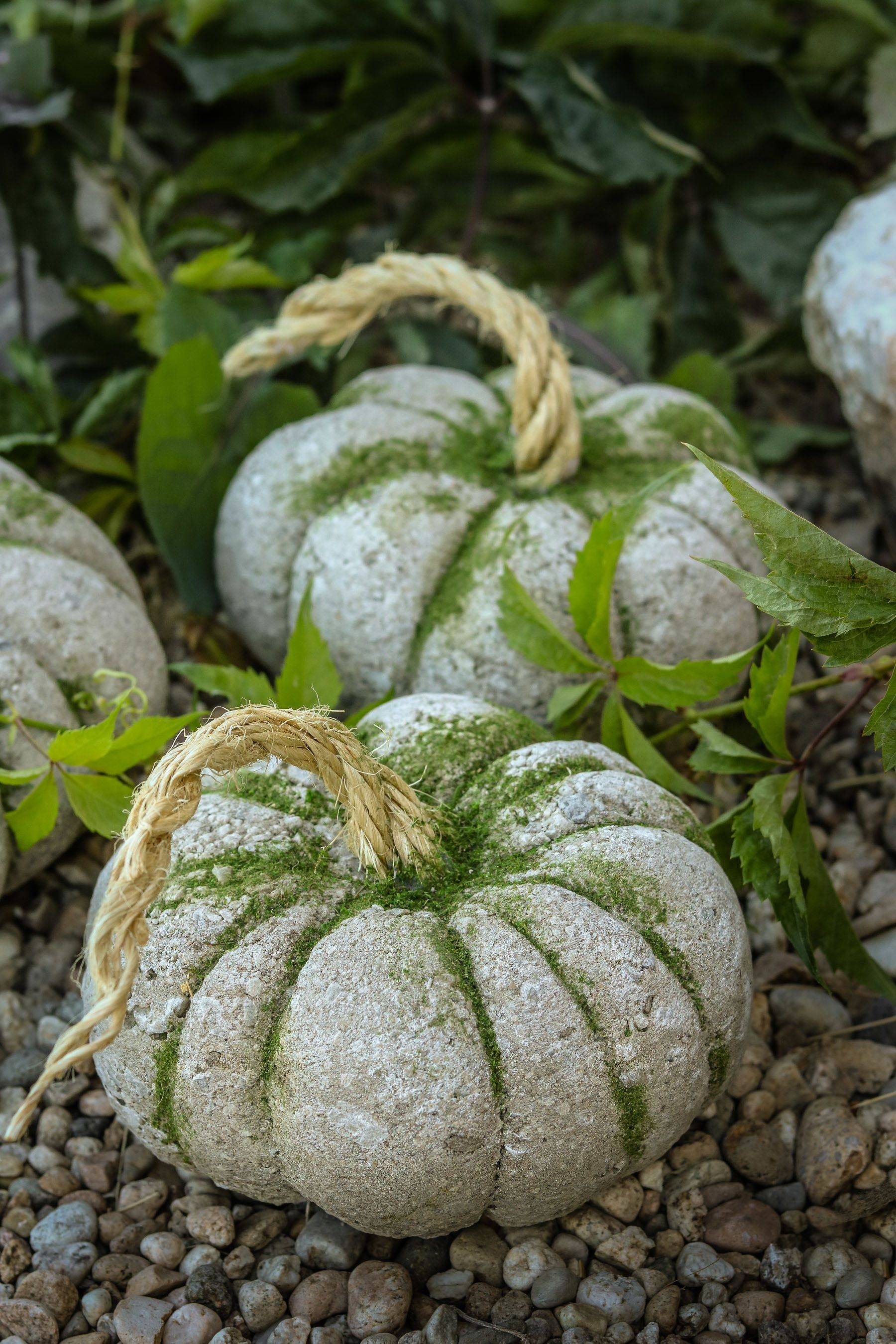 Easy Concrete Pumpkins In 20 Minutes • Free tutorial with pictures on how to make a piece of seasonal decor in under 20 minutes