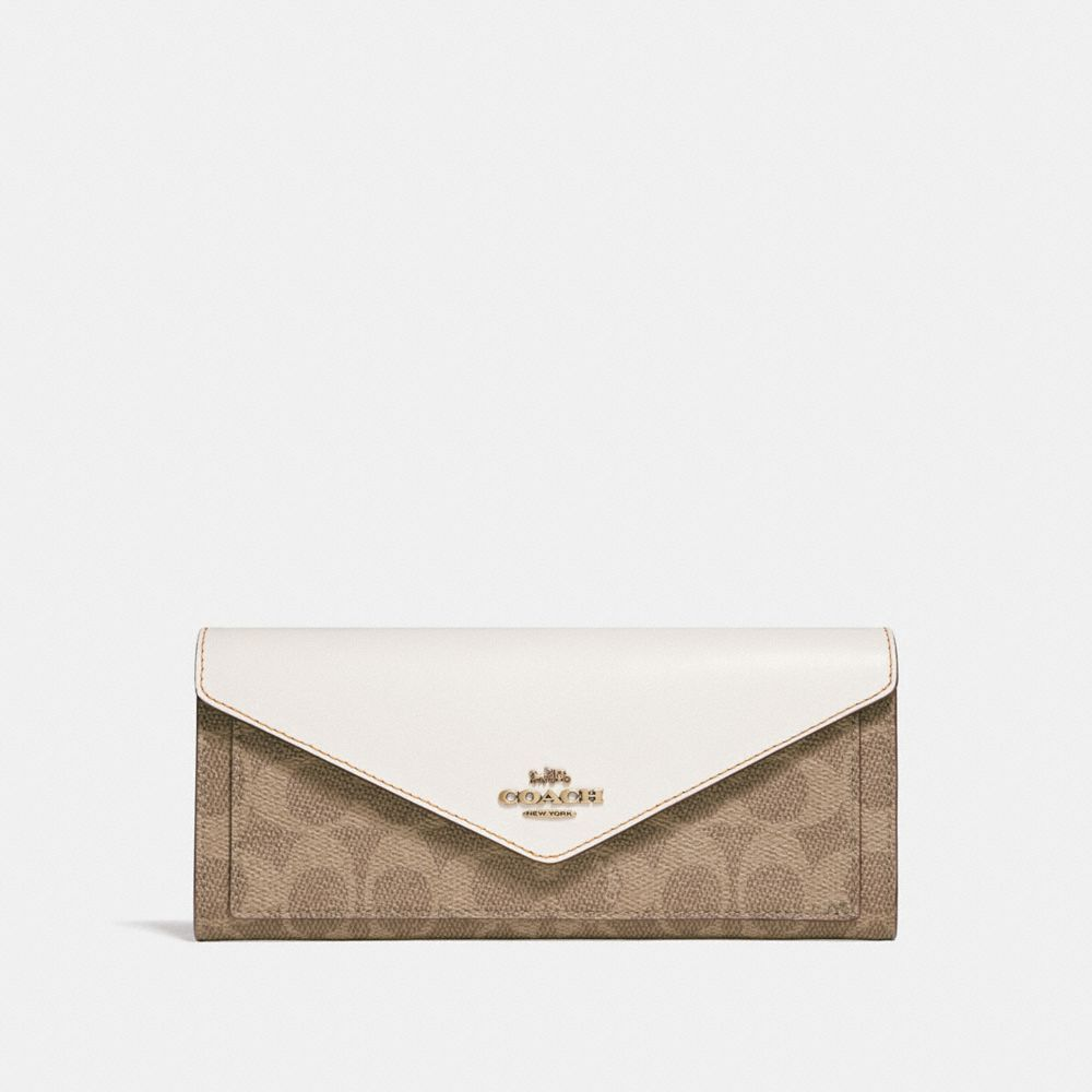 7723ebe0a32b Coach Soft Wallet In Colorblock Signature Canvas - Tan/Chalk/Brass
