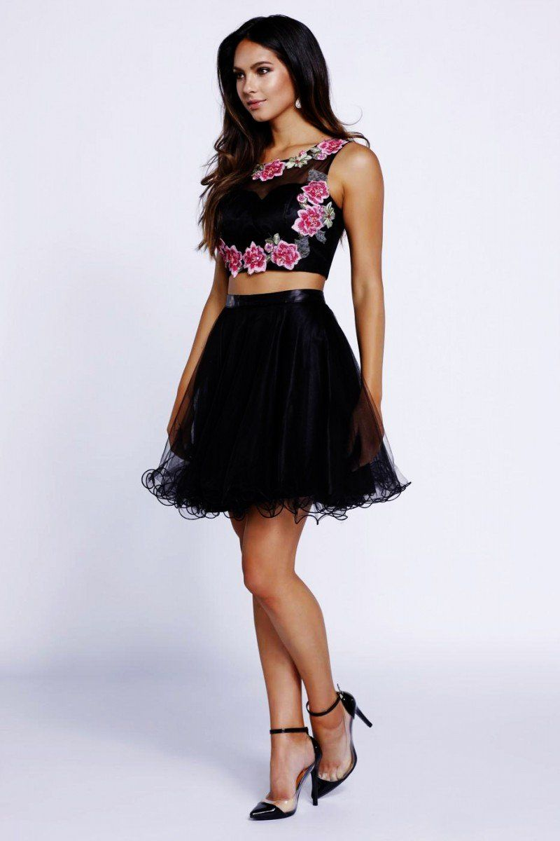 N floral embroidered lace twopiece with tulle skirt
