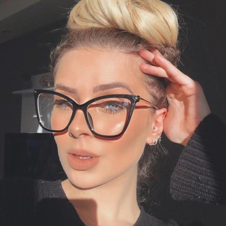 Photo of TR90 Big Cat Eye Glasses Frames Men Women Optical Fashion Computer Glasses 45918