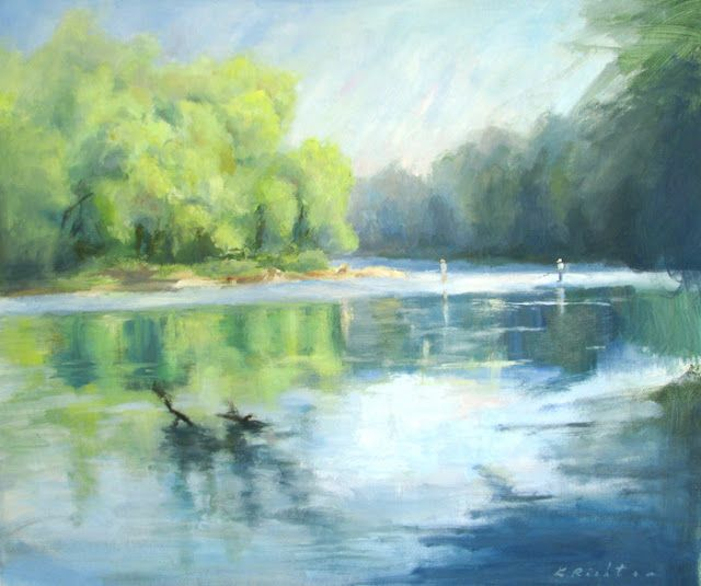 Daily Painters of Georgia: Oil painting of Chattahoochee River and fishermen ...