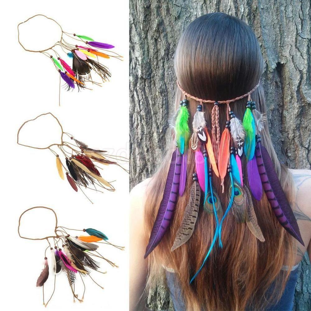 Handmade Peacock Beaded Feather Suede Headband Tribal Hair Festival Accessory