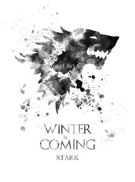 House Stark Game Of Thrones Art Print Illustration Winter Is Coming Home Decor Wall Art Game Of Thrones Art Game Of Thrones Artwork Game Of Throwns