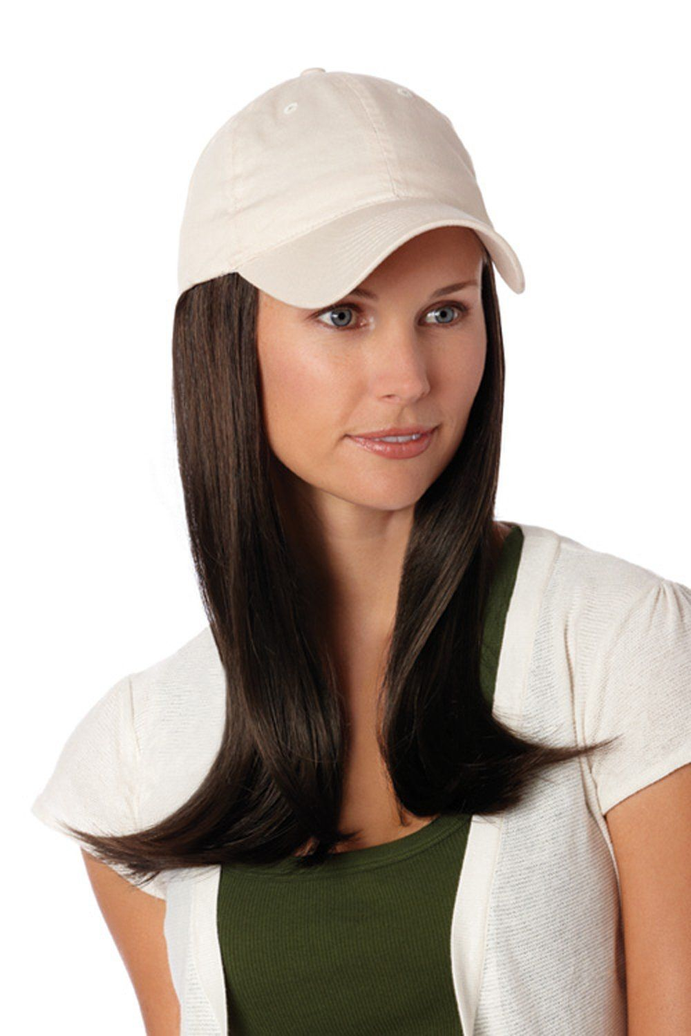 Henry Margu Hair Accents Long Hair With Beige Baseball Cap Wig 4h Medium Dark Brown Medium Brown Highlig Hair Pieces Gold Blonde Highlights Hat Hairstyles