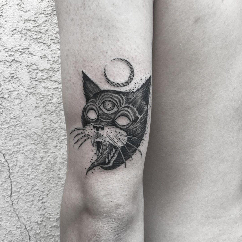Tattoo By Marlon M Toney Marlonmtoney Favoritetattoos Illustrative Blackwork Cat Thirdeye Demon Strange Moon Anim Dog Tattoo Cat Tattoo