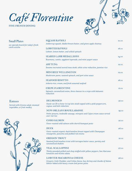 blue vintage floral french menu don menus pinterest menu