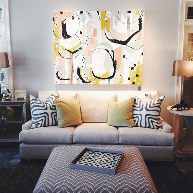 """Check out this gorgeous room @chestnuthall put together incorporating my piece """"Sherbet Summer""""!  // Contact @chestnuthall for purchasing info. // by ebw_artwork"""