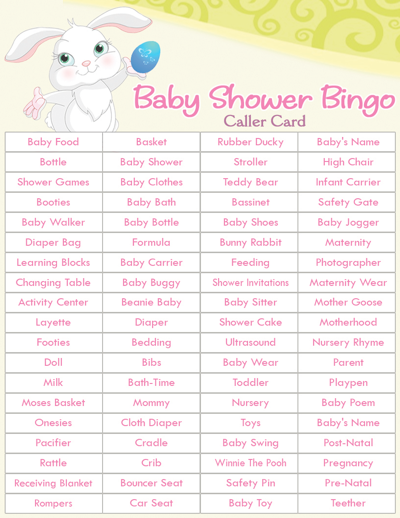 Easy Baby Shower Games | Baby Shower Bingo Easter Theme | Printable Baby  Shower Games .
