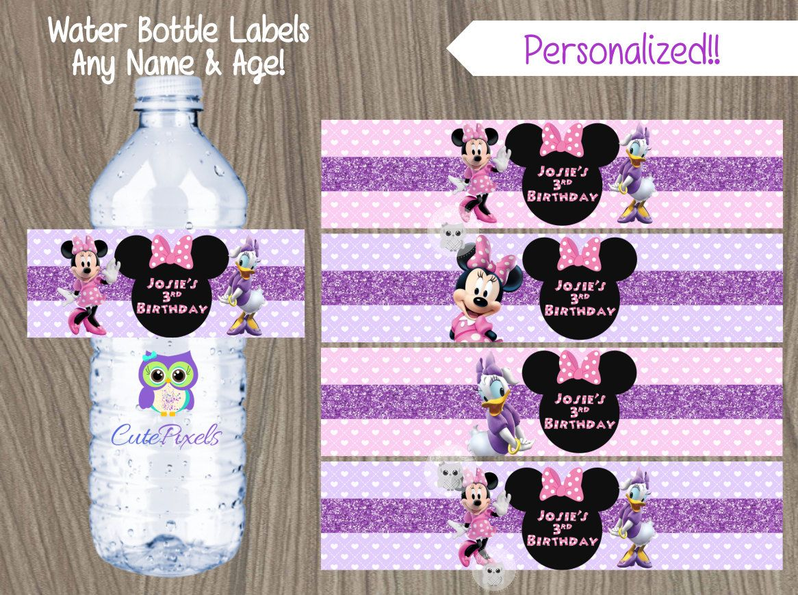 Minnie Birthday Minnie Birthday Party Minnie Mouse Birthday Party Juice Labels Minnie and Micky Mouse