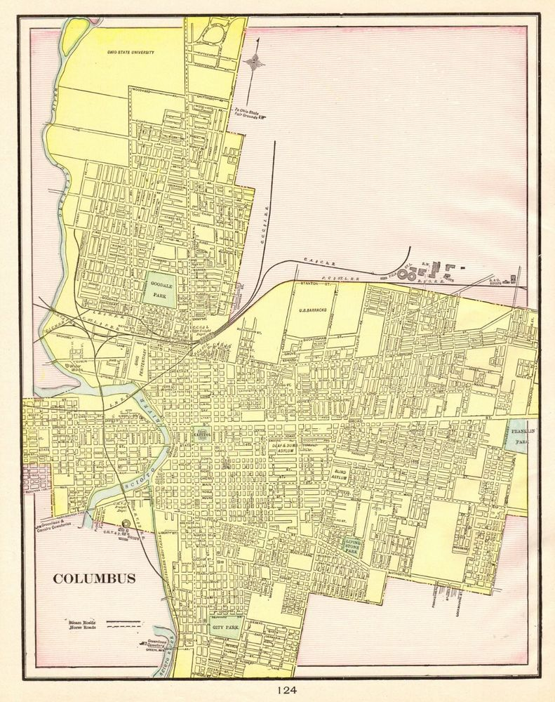 Details about 1901 Antique COLUMBUS OHIO Map Vintage Collectible Map ...