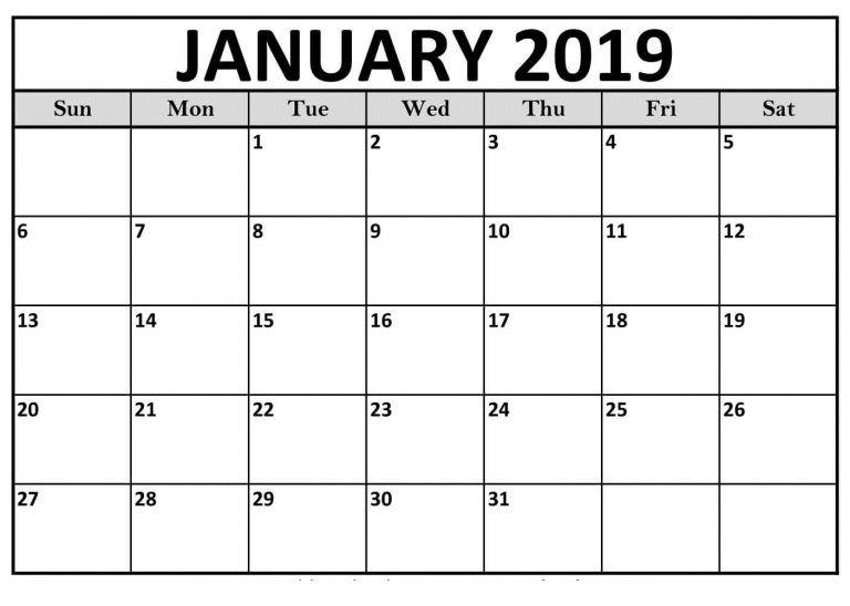 January 2019 Calendar Template January 2019 Calendar Template