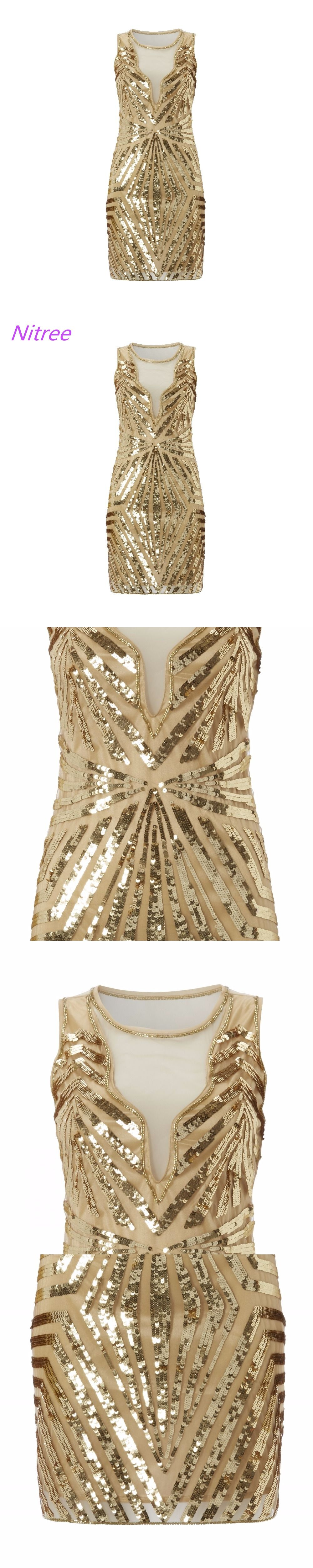Custom made Gold Sequin Gown Dresses Dress Great Gatsby Dress Party ...