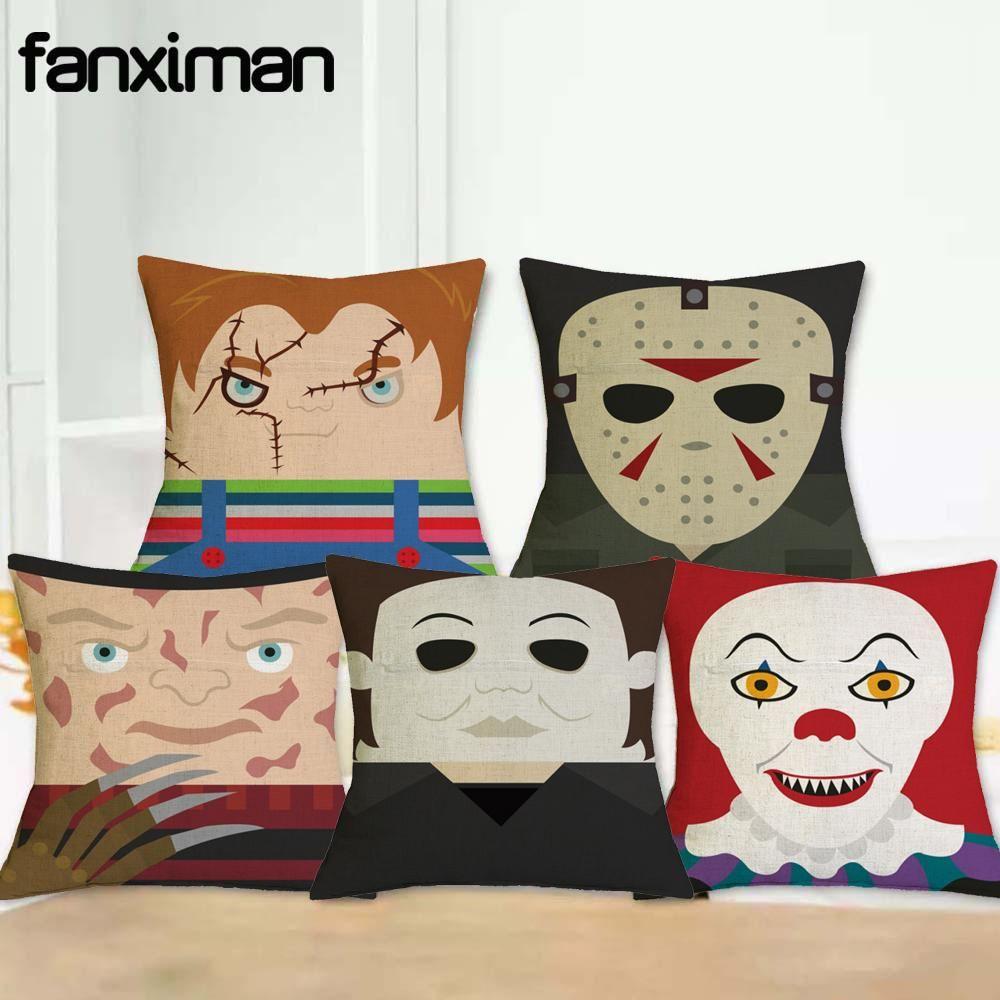Horror Movie Character Pillow Cover Freddy Krueger Jason Saw