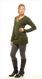 Nomads organic cotton, hemp and spandex tunic, $79, is worn with Efforts bamboo, rayon and spandex leggings, $35, and Naya vegetable-tanned leather boots, $330.