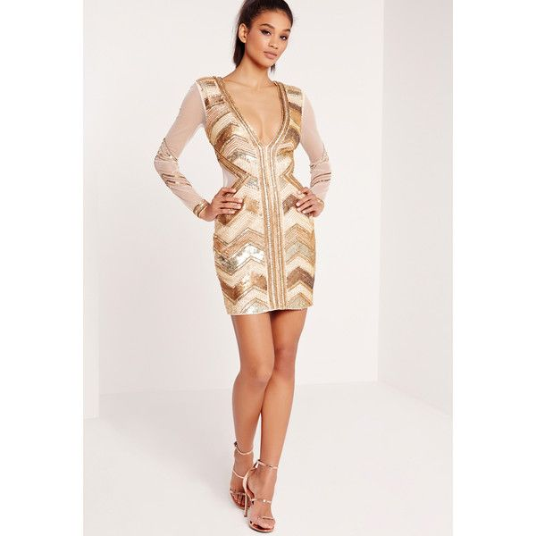 8ede75f32b Missguided Premium Embellished Chevron Plunge Bodycon Dress ( 255) ❤ liked  on Polyvore featuring dresses