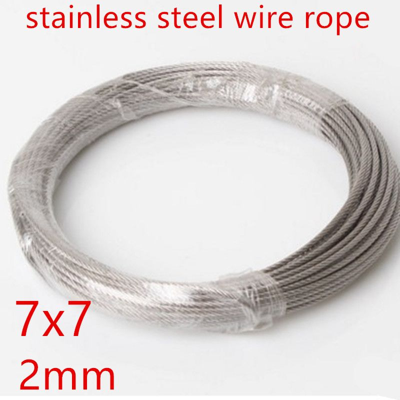 10m Lot 2 0mm High Stainless Steel Wire Rope Tensile Diameter 7x7 Structure Cable Gray Stainless Steel Wire Structured Cabling Stainless Steel