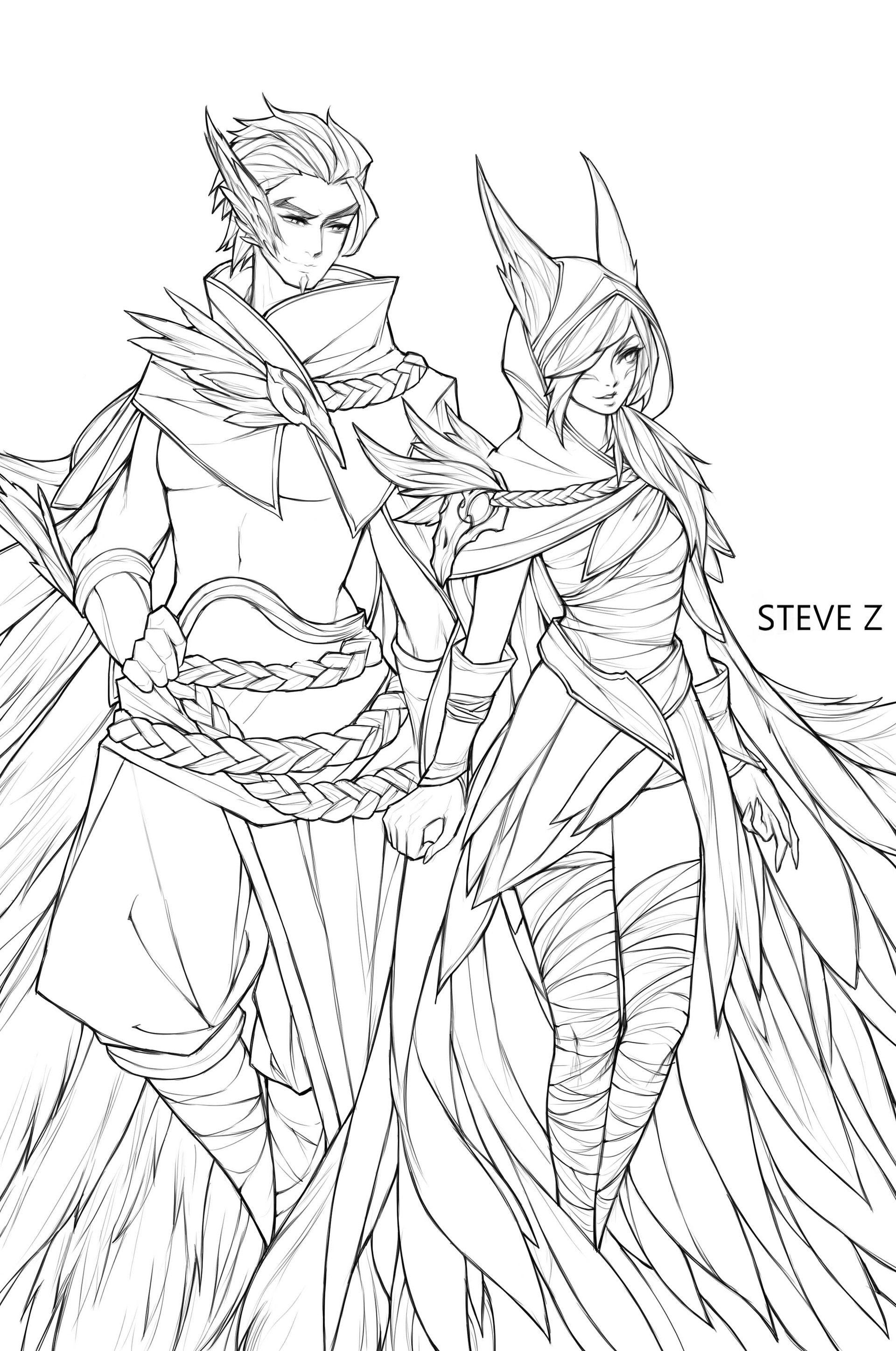 Artstation Rakan And Xayah Steve Zheng Xayah And Rakan Lol League Of Legends League Of Legends Characters