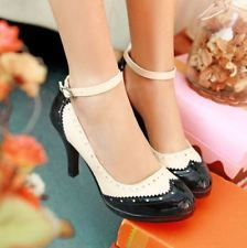 Sexy Slim Brogue Lolita Mary Jane Women Party High Heel Party Ankle Strap Shoes