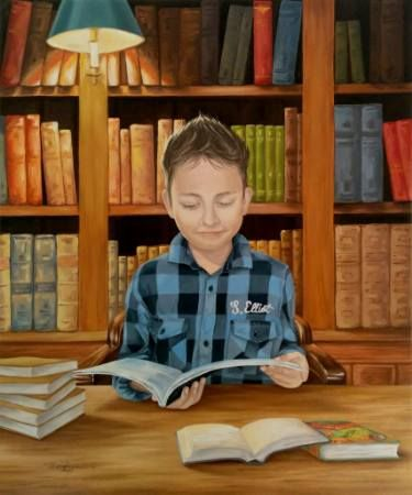 "Saatchi Art Artist Tatiana Zappa; Painting, ""Alexander reading"" #art"