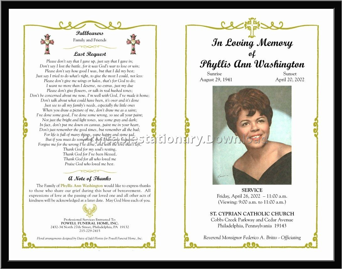 Free Memorial Cards Template Lovely Download Free Funeral Program Template Funeral Program Template Funeral Templates Free Funeral Templates