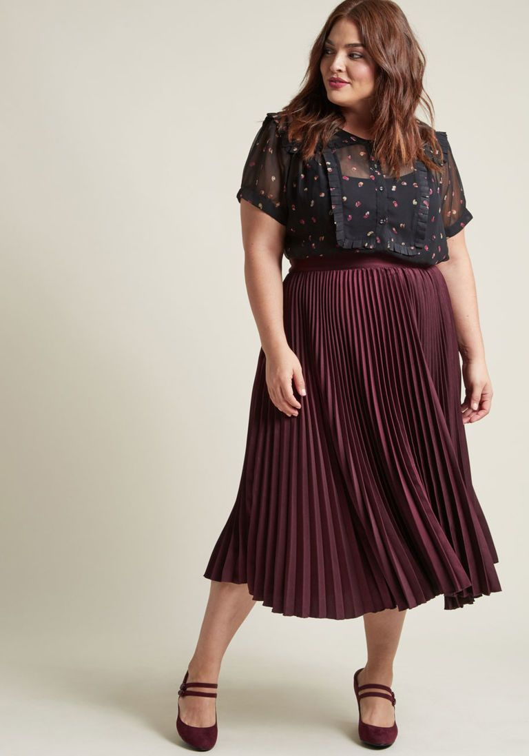 3fcbbd53354 Polished Pleated Midi Skirt in Burgundy in 4X - A-line by ModCloth