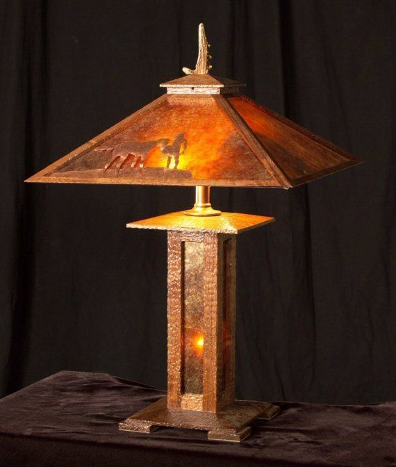 Built to order mission style table lamp arts and crafts oak arts and crafts mission style table lamp oak wood mica sheets handmade prairie style shade mozeypictures Image collections