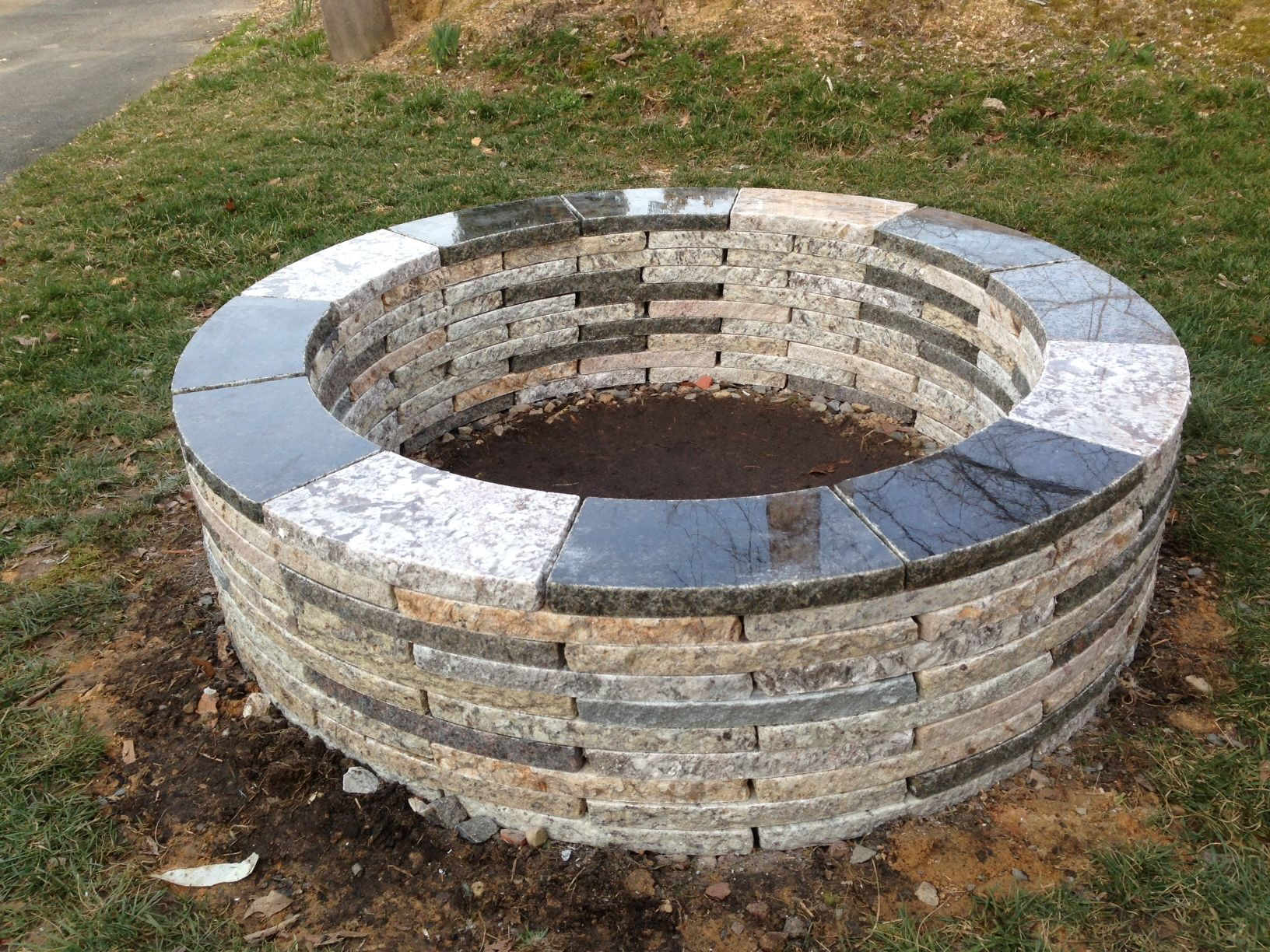 48 Granite Fire Pit Made By Www Foreverstone Biz Made From 100 Recycled Material Outside Fire Pits Fire Pit Fire Pit Kit