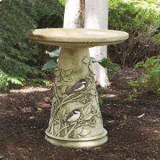 BURLEY CLAY CHICKADEE BIRDBATH AND PEDESTAL STAND DECORATIVE BIRD BATH