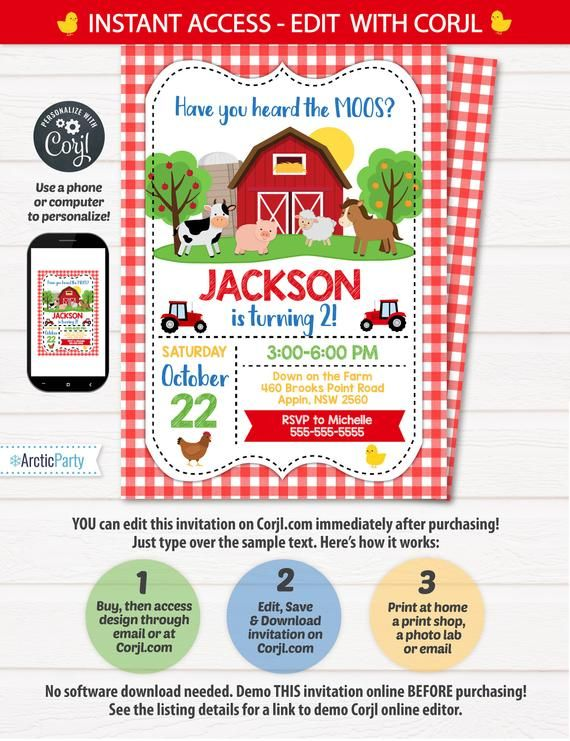 Farm Party Invitation, Farm Themed Birthday Invitation ...