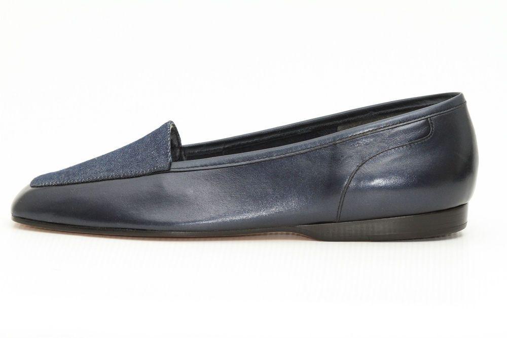eab98ca17e Enzo Angiolini Liberty Women's Navy Blue Leather Slip On Glitter Flats Size  7M