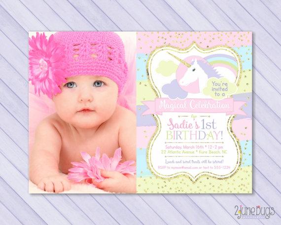 Unicorn First Birthday Invitation 1st Magical Pastel Rainb