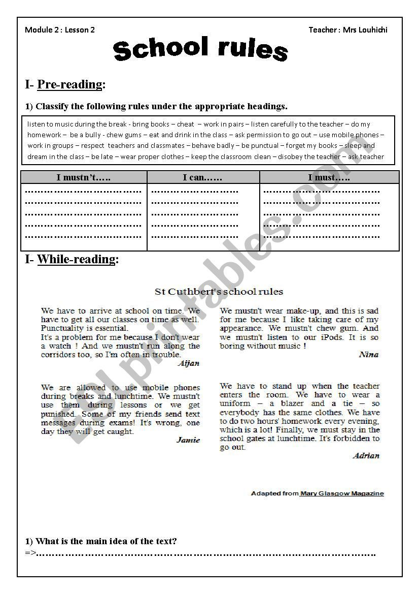medium resolution of School rules module two section two 9 th grade tunisian school   School  rules