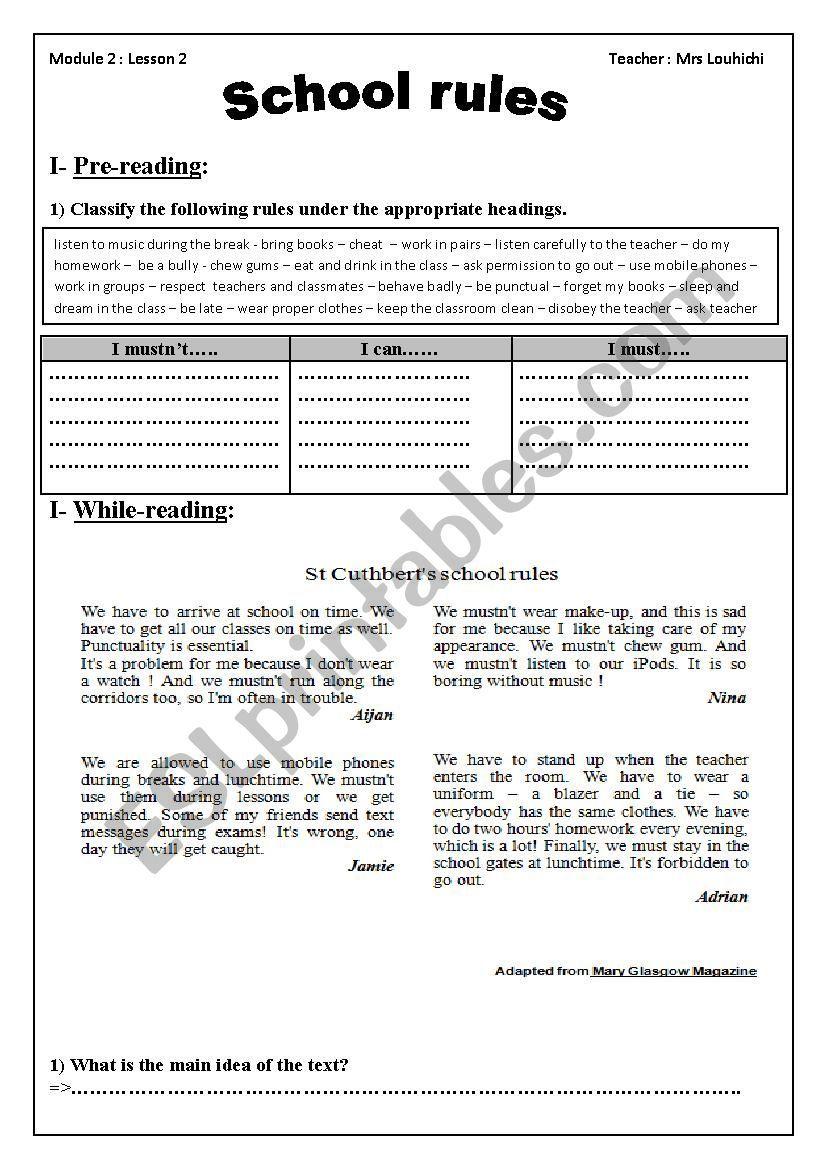 School rules module two section two 9 th grade tunisian school   School  rules [ 1169 x 826 Pixel ]